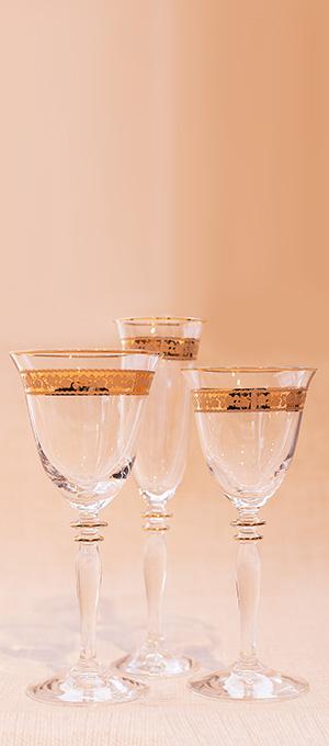 Gold glassware range