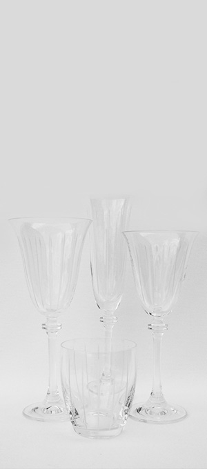 Lined Etched Glassware set