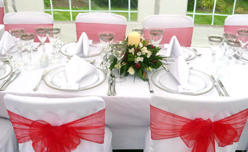 Platinum and white table setting