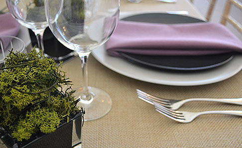 Purple and Black place setting