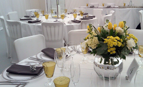 Grey and Amber place setting