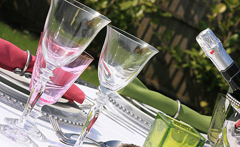 Clear glassware place setting