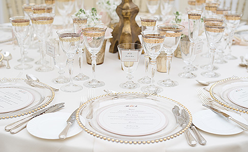 Gold glassware place setting